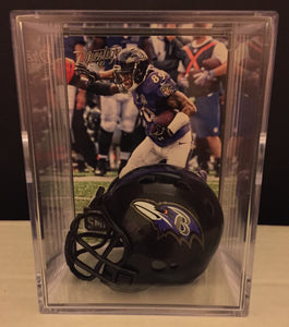 Baltimore Ravens mini helmet shadowbox w/ player card - Super Fan Cave