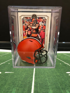 Cleveland Browns mini helmet shadowbox w/ player card - Super Fan Cave