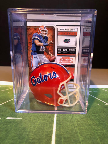 Florida Gators NCAA mini helmet shadowbox w/ player card - Super Fan Cave