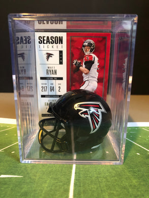 Atlanta Falcons mini helmet shadowbox w/ player card - Super Fan Cave