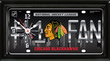 Load image into Gallery viewer, NHL Hockey #1 Fan Team Logo License Plate made Clock - Super Fan Cave