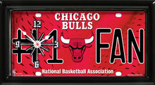 Load image into Gallery viewer, NBA Basketball #1 Fan Team Logo License Plate made Clock - Super Fan Cave