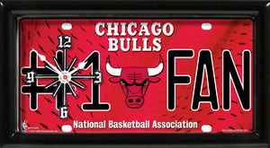 NBA Basketball #1 Fan Team Logo License Plate made Clock - Super Fan Cave