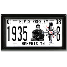 Load image into Gallery viewer, Elvis Presley License Plate made Clock - Super Fan Cave