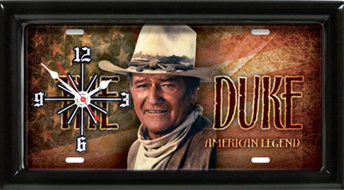 John Wayne License Plate made Clock - Super Fan Cave