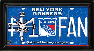 NHL Hockey #1 Fan Team Logo License Plate made Clock - Super Fan Cave