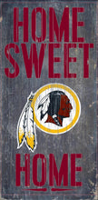 "Load image into Gallery viewer, NFL Team Logo Wood Sign - Home Sweet Home 6""x12"" - Super Fan Cave"