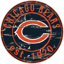 "Load image into Gallery viewer, NFL Established Date Circle 24"" Circle Wood Sign - Super Fan Cave"