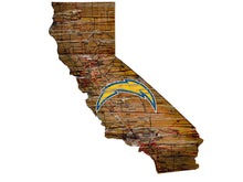 Load image into Gallery viewer, NFL Team Logo State Design Wood Sign - Super Fan Cave