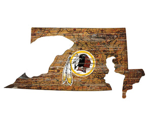 NFL Team Logo State Design Wood Sign - Super Fan Cave