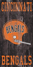 "Load image into Gallery viewer, NFL Distressed Heritage Team Logo Wood Sign - 6""x12"" - Super Fan Cave"
