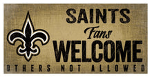 "Load image into Gallery viewer, NFL Team Logo Wood Sign - Fans Welcome 12""x6"" - Super Fan Cave"