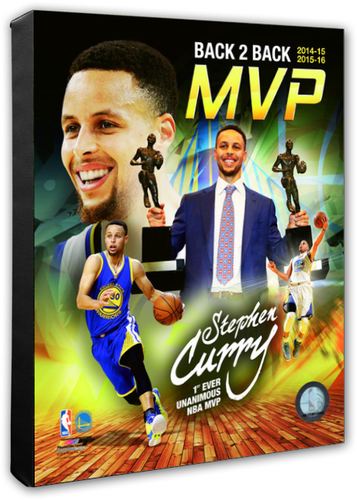 Stephen Curry Back 2 Back NBA MVP Portrait Plus Stretched Canvas Photo - Super Fan Cave