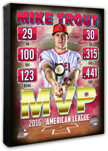 Mike Trout Angels 2016 MVP Stretched Canvas Photo - Super Fan Cave