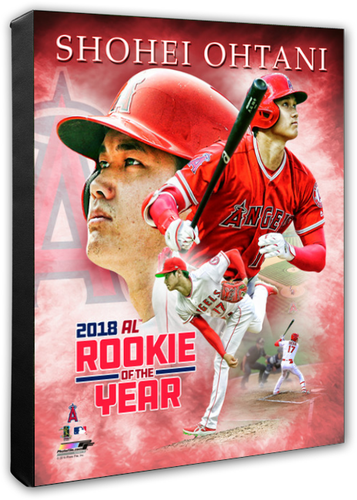 Shohei Ohtani Angels 2018 AL Rookie of the Year Portrait Plus Stretched Canvas Photo - Super Fan Cave