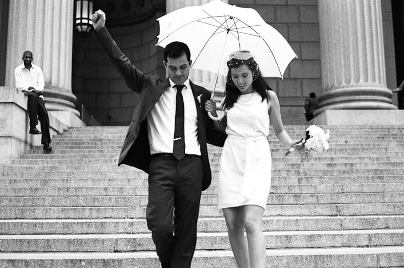 vintage-style new york city hall elopement