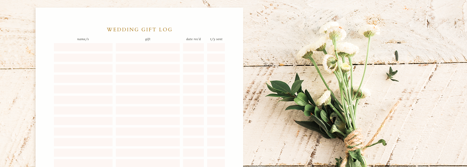 Free Printable Wedding Gift Log from Skipt Paper Co.