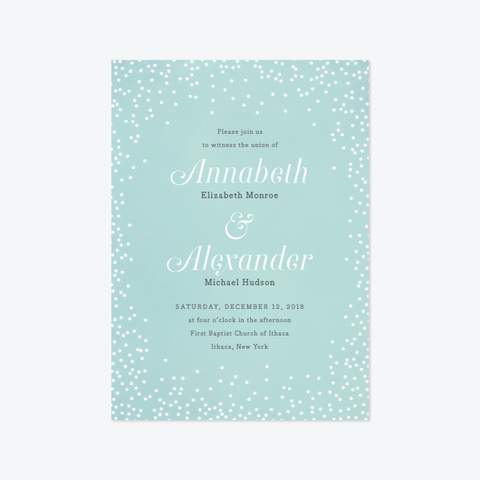 Snowfall Wedding Invitation Suite - Invitation - by Up Up Creative for Skipt Paper Co.