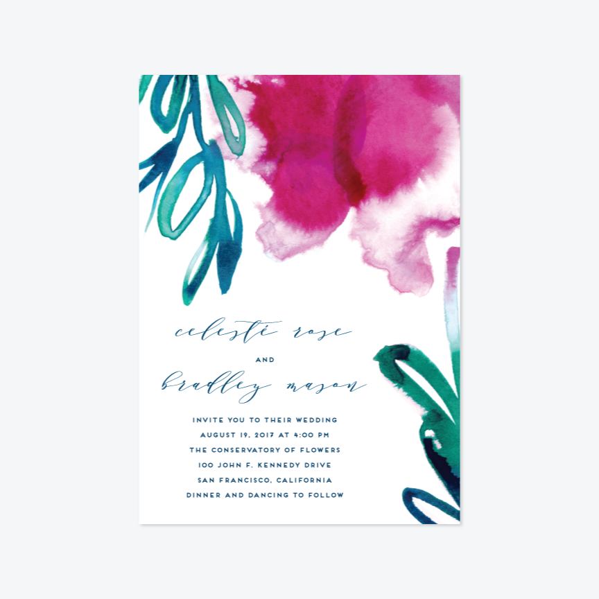 Airy Blooms Wedding Invitation Suite - Invitation - by Simona Cavallaro for Skipt Paper Co.