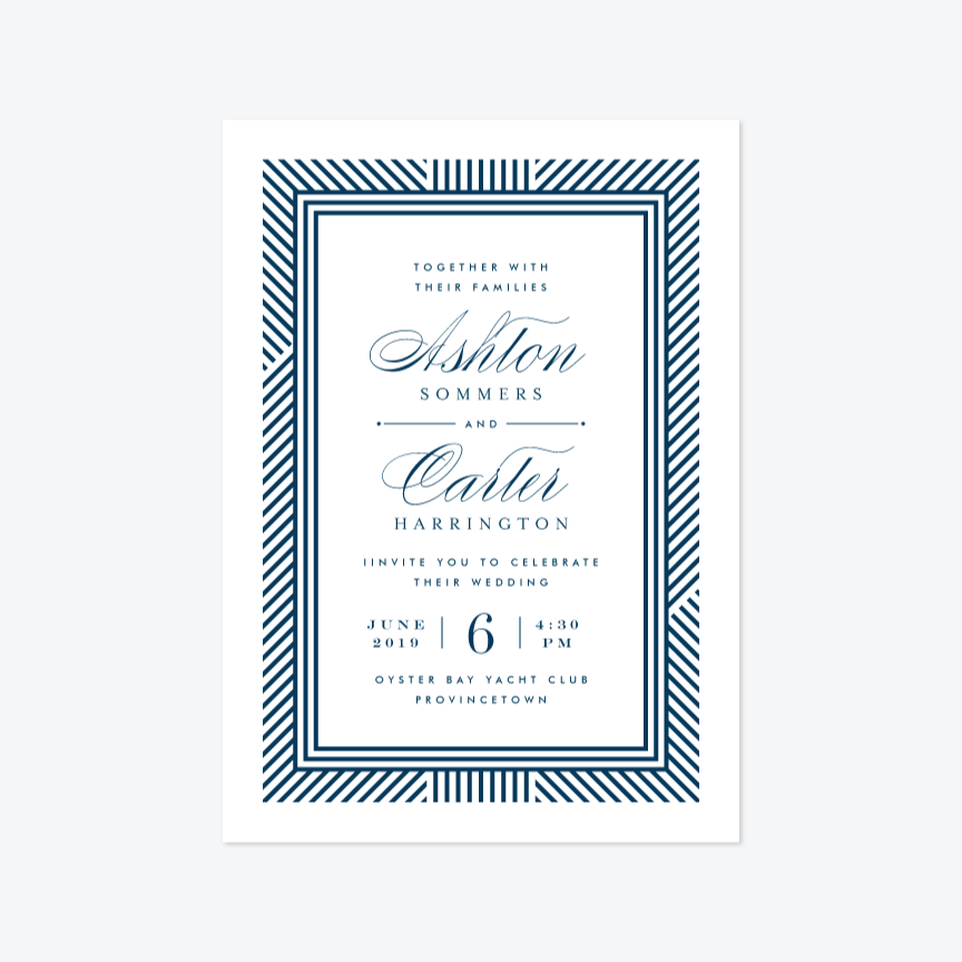 Dapper Wedding Invitation Suite - Invitation - by Kristie Kern for Skipt Paper Co.