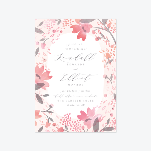 Summer Garden Wedding Invitation Suite - Invitation - by Kristie Kern for Skipt Paper Co.