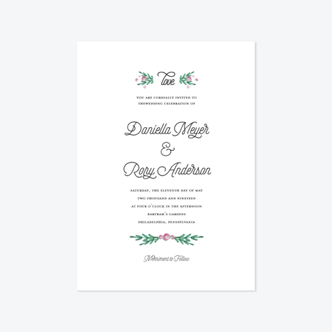 Petals Wedding Invitation Suite - Invitation - by Carol Fazio Design for Skipt Paper Co.