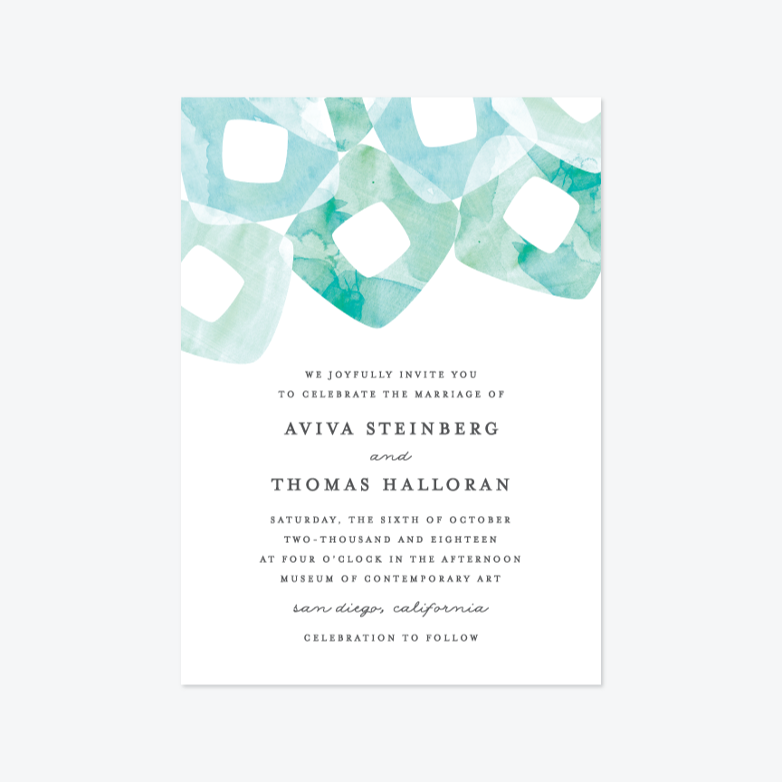 Abstract Rings Wedding Invitation Suite - Invitation - by Olivia Raufman for Skipt Paper Co.