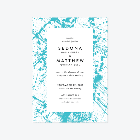 Splatter Wedding Invitation Suite - Invitation - by Up Up Creative for Skipt Paper Co.