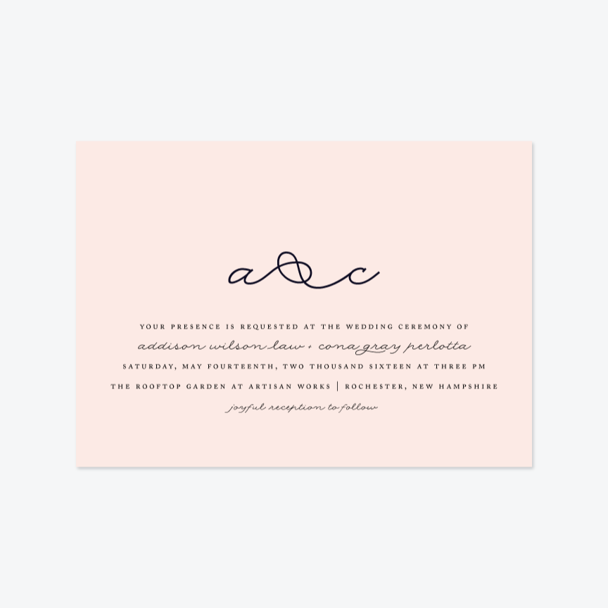 Knot Wedding Invitation Suite - Invitation - by Up Up Creative for Skipt Paper Co.