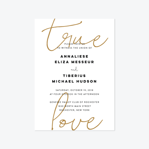 True Love Wedding Invitation Suite - Invitation - by Up Up Creative for Skipt Paper Co.