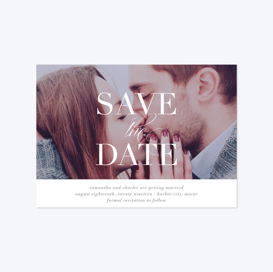 Classic Overlay Save the Date - Photo Save the Date - by Ellis Design for Skipt Paper Co.