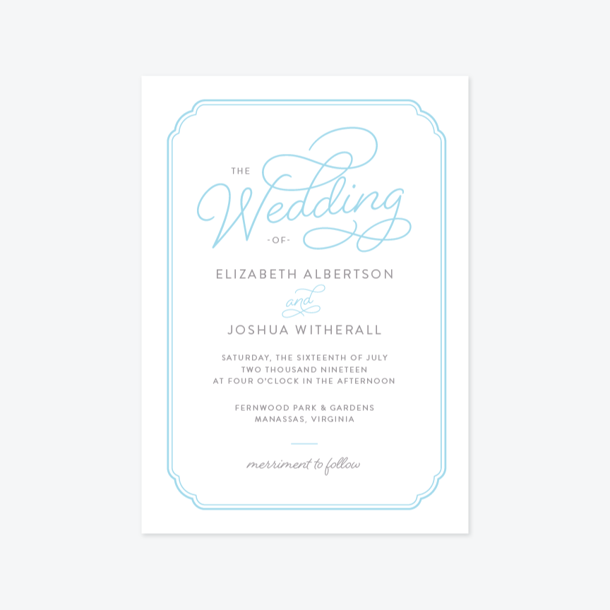 Splendid Wedding Invitation Suite - Invitation - by Sarah Brown for Skipt Paper Co.