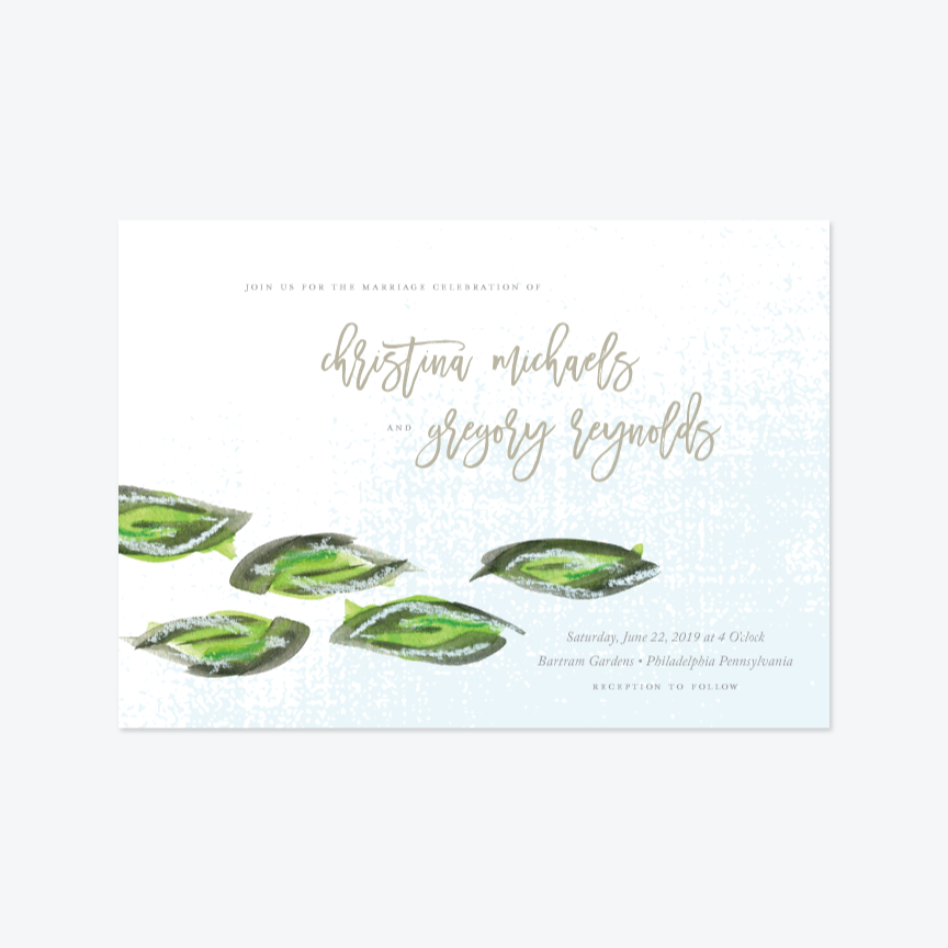 Shimmering Waterlillies Wedding Invitation Suite