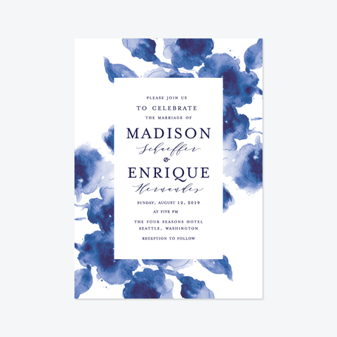 Abstract Cornflower Wedding Invitation Suite - Invitation - by Chris Griffith for Skipt Paper Co.