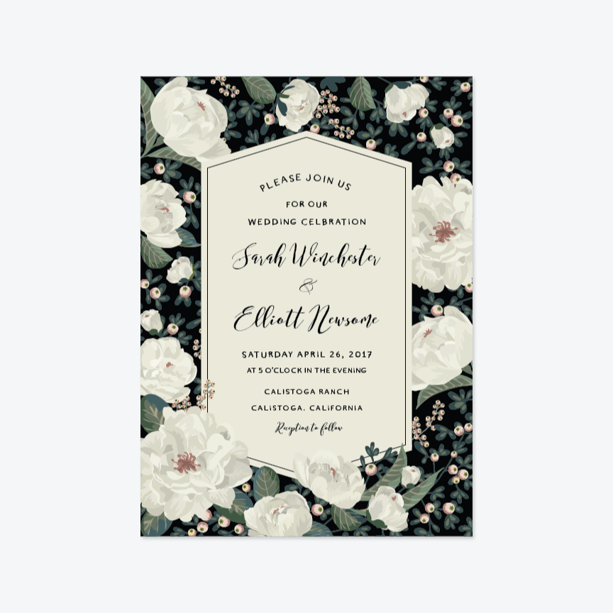 Garland of Peonies Wedding Invitation Suite - Invitation - by Chris Griffith for Skipt Paper Co.