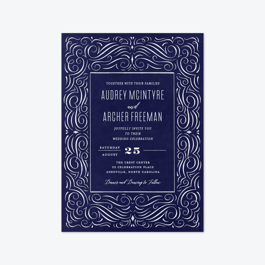 Flourished Chalk Wedding Invitation Suite - Invitation - by Laura Bolter Design for Skipt Paper Co.
