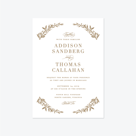 Ethereal Branch Wedding Invitation Suite - Invitation - by Jennifer Postorino for Skipt Paper Co.