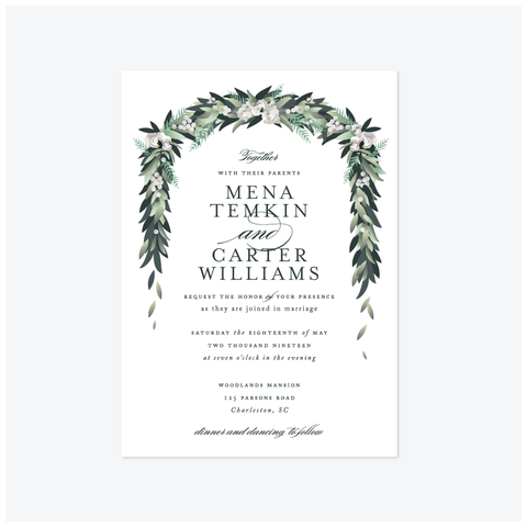 Floral Arch Wedding Invitation Suite - Invitation - by Jennifer Postorino for Skipt Paper Co.