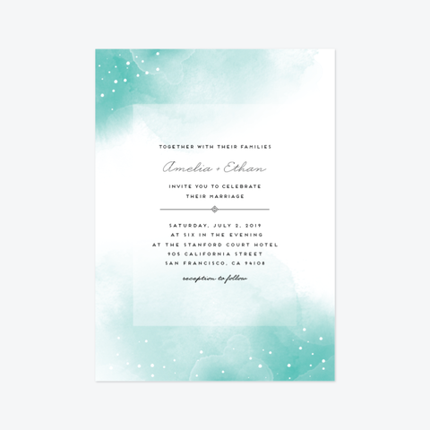 Watercolored Pools Wedding Invitation Suite