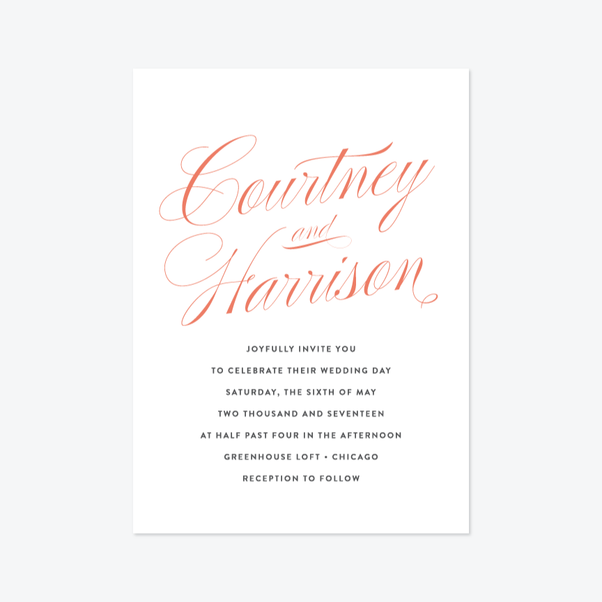 Chic Script Wedding Invitation Suite - Invitation - by Olivia Raufman for Skipt Paper Co.