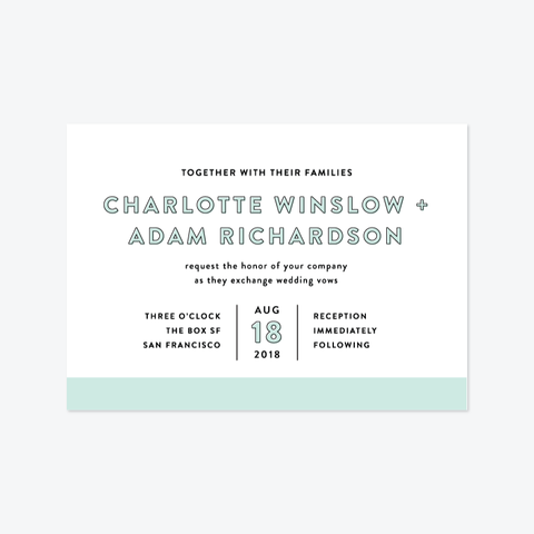 Color Bar Wedding Invitation Suite - Invitation - by Olivia Raufman for Skipt Paper Co.