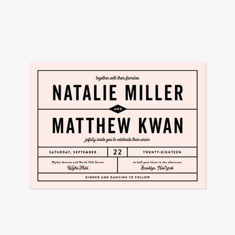 Minimalist Grid Wedding Invitation Suite - Invitation - by Olivia Raufman for Skipt Paper Co.