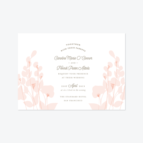 Floral Landscape Wedding Invitation Suite - Invitation - by Up Up Creative for Skipt Paper Co.