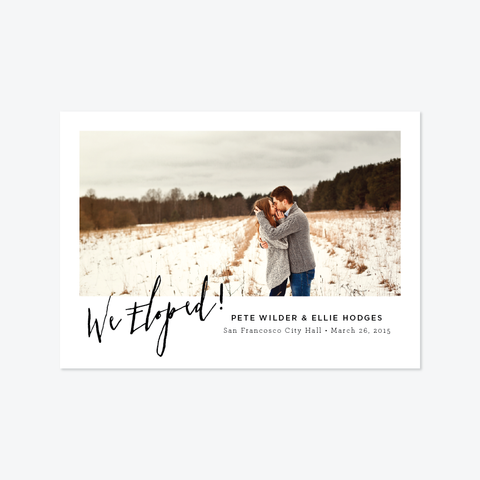 Angled Photo Elopement Announcement - One-Photo Elopement Announcement - by Skipt Paper Co for Skipt Paper Co.