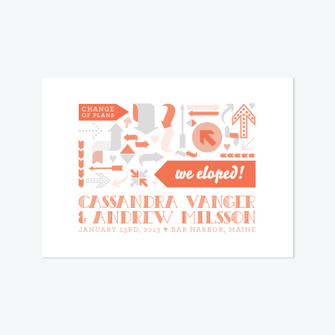 Arrows Elopement Announcement - Non-Photo Elopement Announcement - Skipt Paper Co - 1