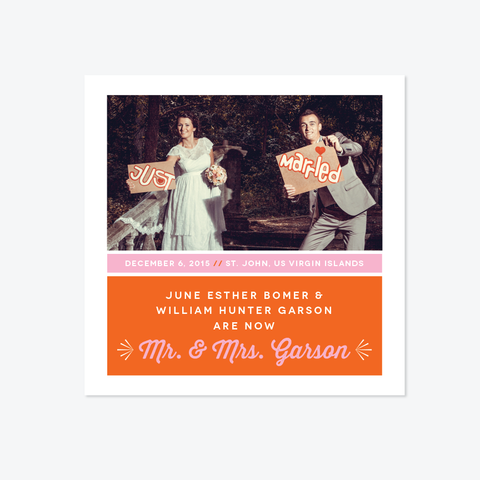 Playful Photo Elopement Announcement - One-Photo Elopement Announcement - by Skipt Paper Co for Skipt Paper Co.