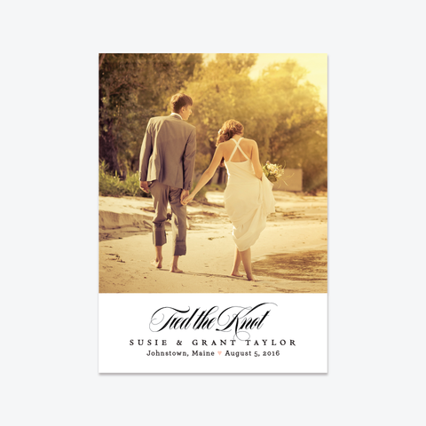 Tied the Knot Photo Elopement Announcement - One-Photo Elopement Announcement - Skipt Paper Co - 1