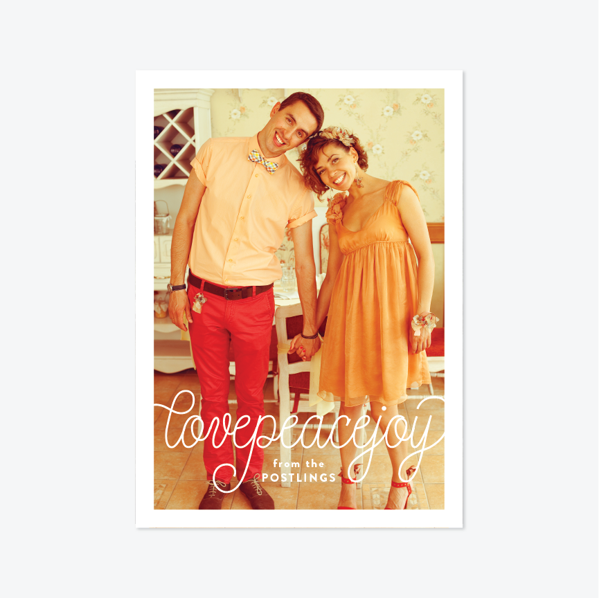 Cursive Holiday Marriage Announcement - Holiday Photo Card - by Up Up Creative for Skipt Paper Co.