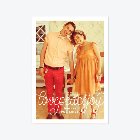 Cursive Holiday Marriage Announcement - Holiday Photo Card - by Skipt Paper Co for Skipt Paper Co.