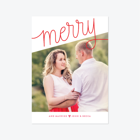 Cutest Holiday Marriage Announcement - Holiday Photo Card - by Skipt Paper Co for Skipt Paper Co.